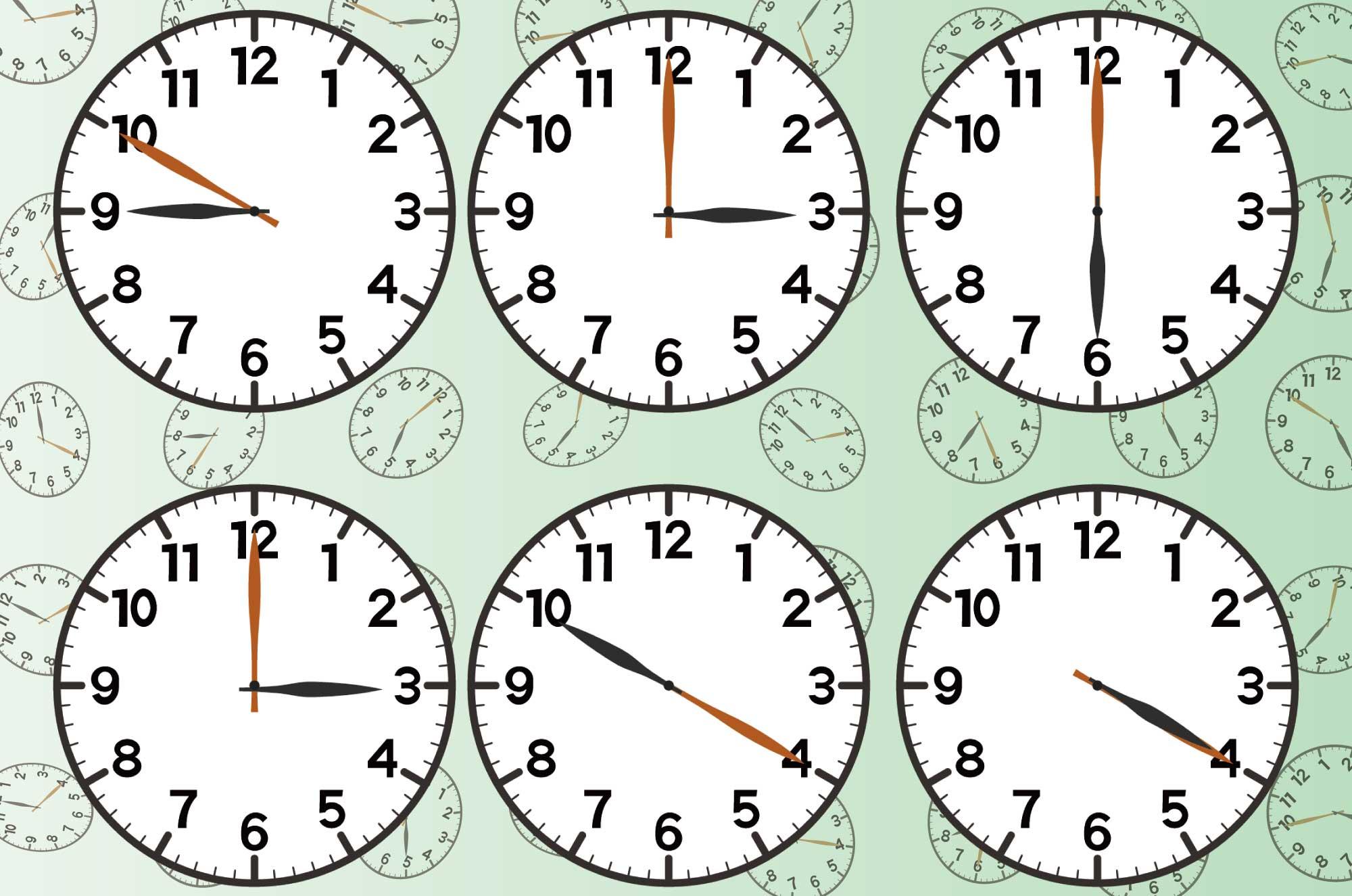 時計のイラスト - 5分刻み時間表示に使える無料素材