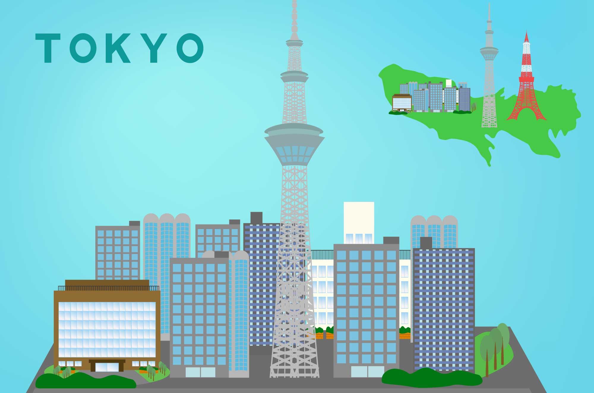 東京イラスト - タワー・地図・都会の無料素材