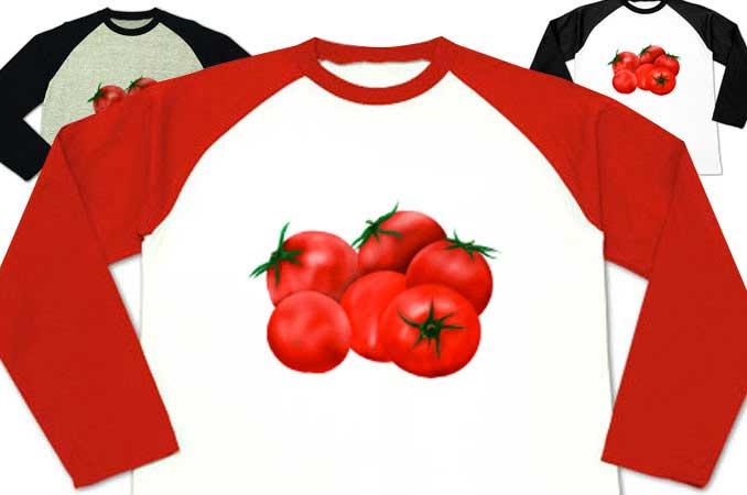 トマトのラグラン長袖トマトTシャツ