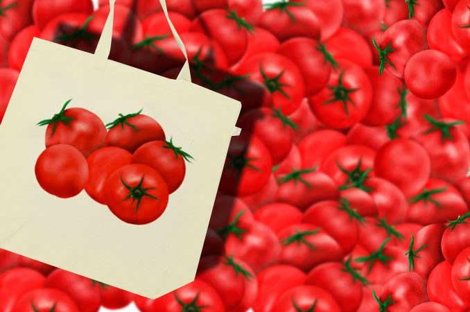 トマトのイラストトートバッグ