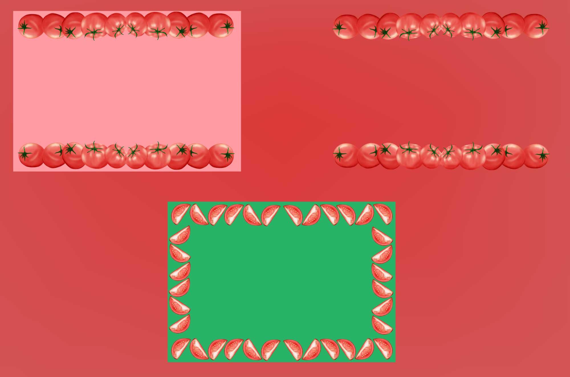 トマトの無料フレーム素材 - 可愛い野菜の枠フリー素材