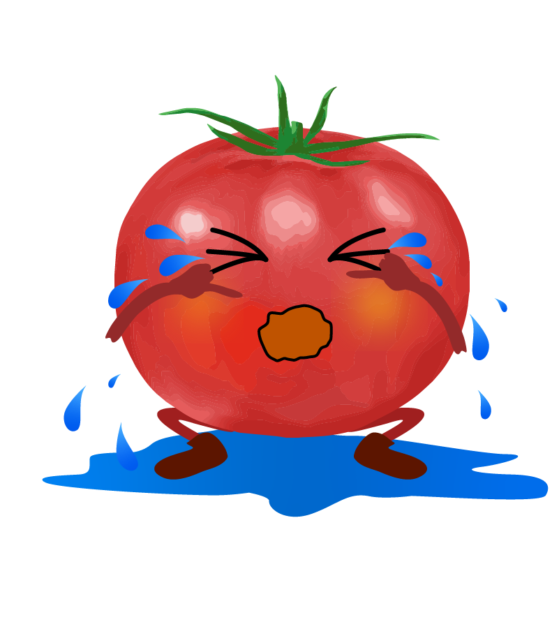 泣いているトマトのイラスト