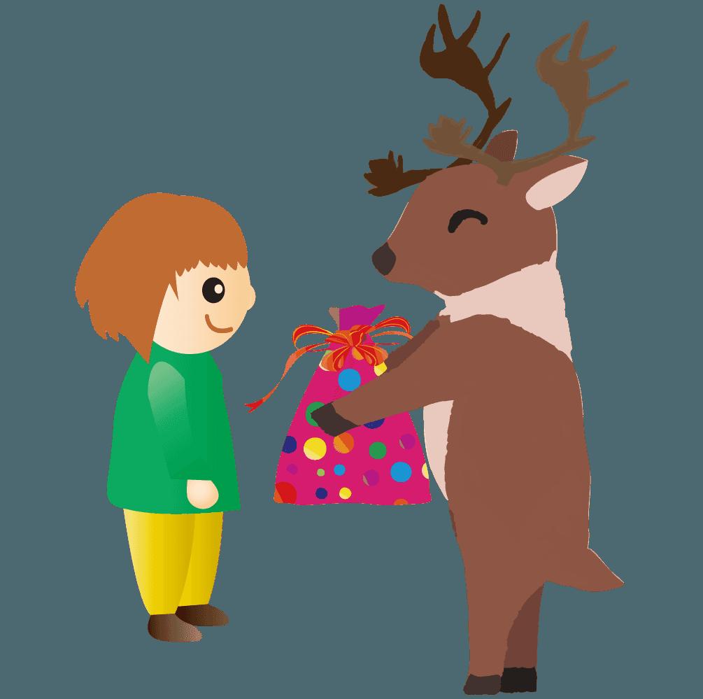 子供にプレゼントを渡すトナカイのイラスト