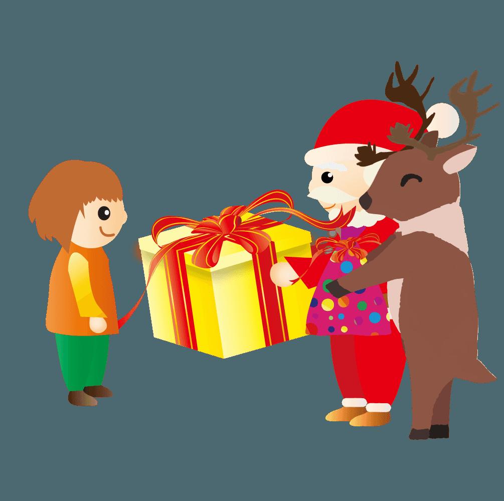 サンタクロースとトナカイと子供のイラスト
