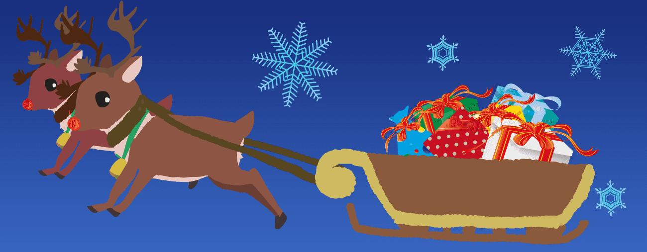 夜空をプレゼントを乗せたそりをひくのイラスト