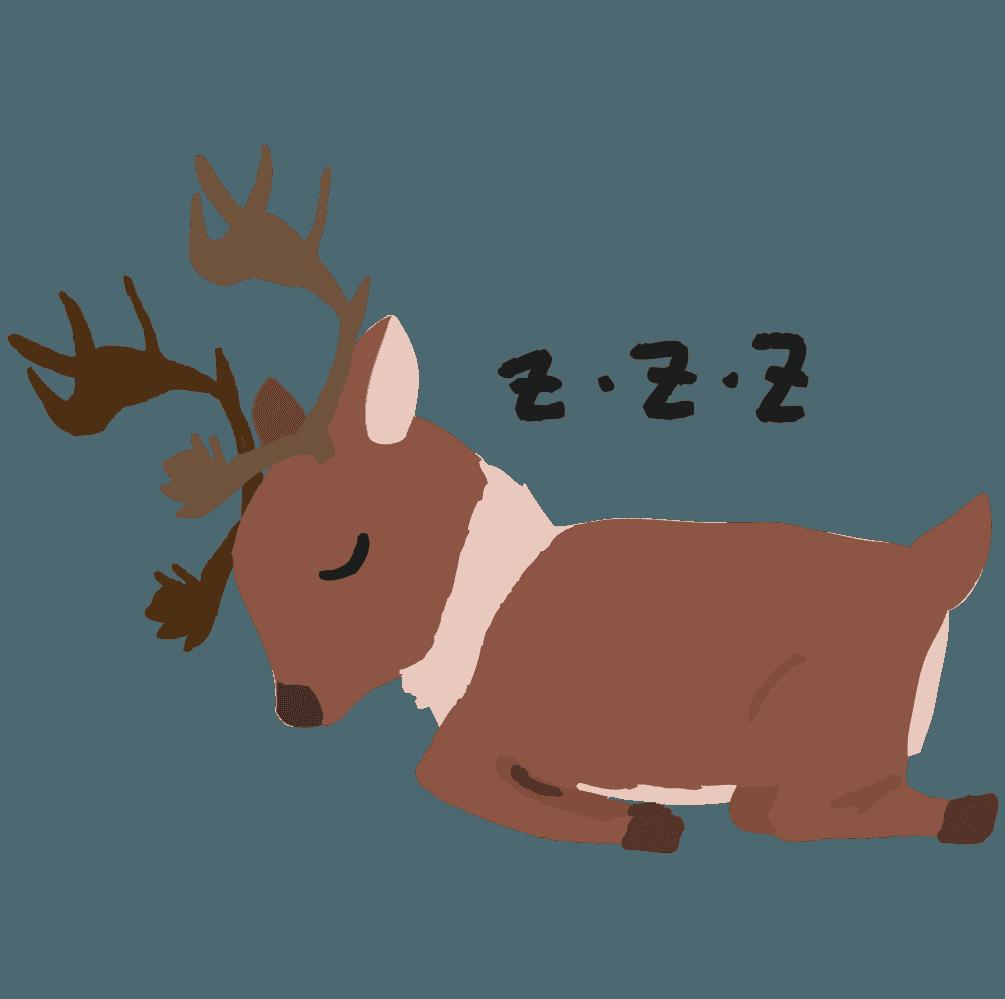 眠るトナカイのイラスト