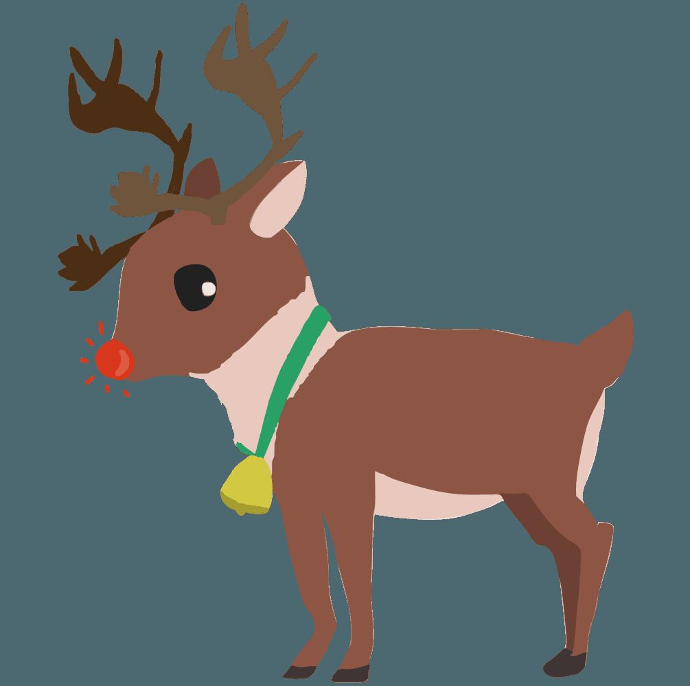 鼻が光るクリスマスのトナカイのイラスト