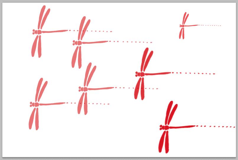 トンボのイラストを使ったブラシの描画例