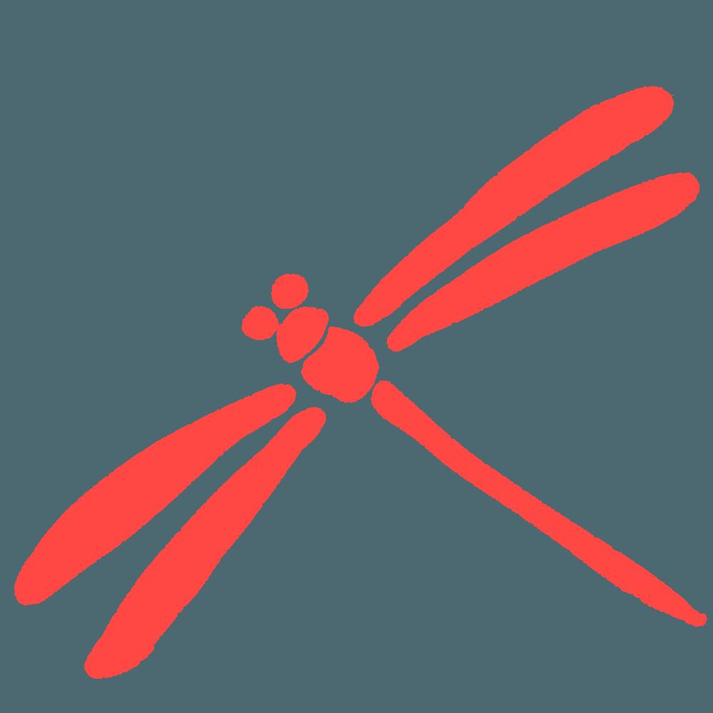 赤いトンボのシルエットイラスト