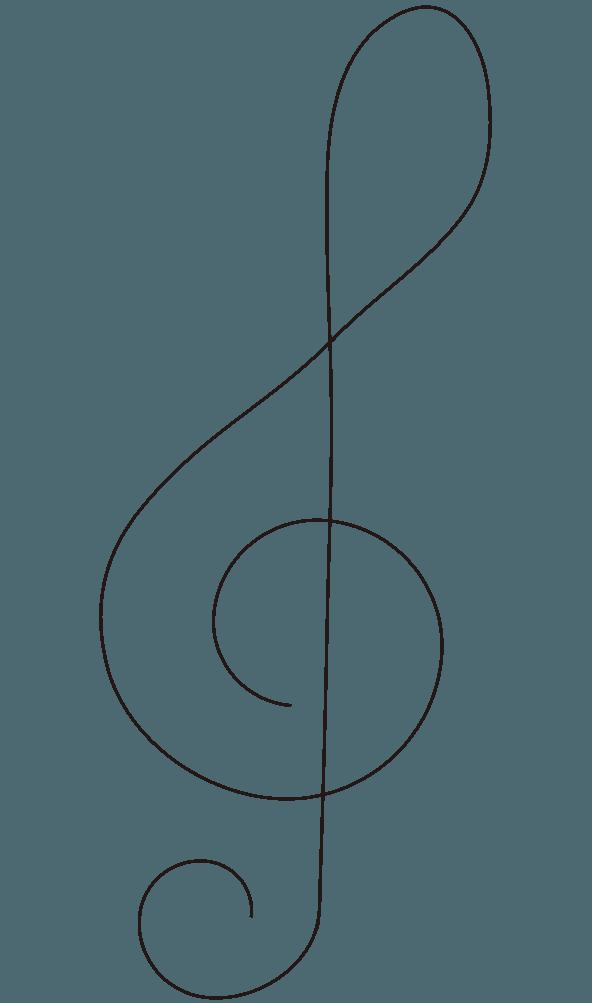 細い線のト音記号のイラスト