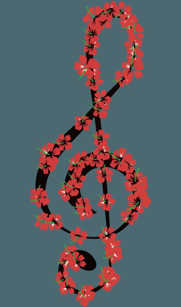ハイビスカスのト音記号のイラスト