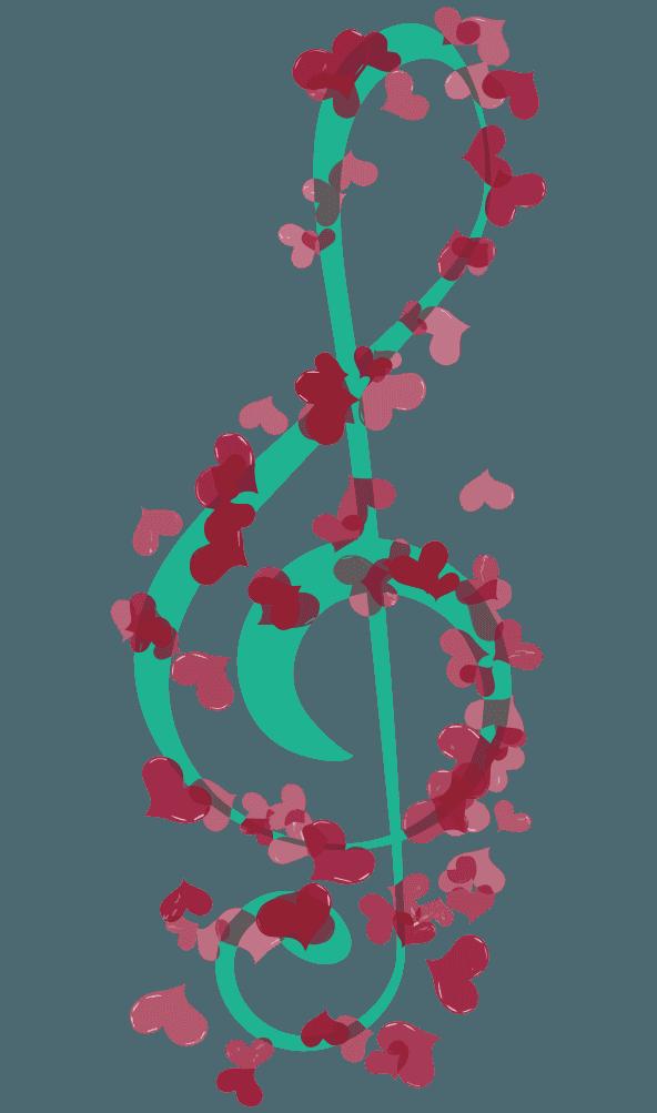 ハートマークのト音記号のイラスト