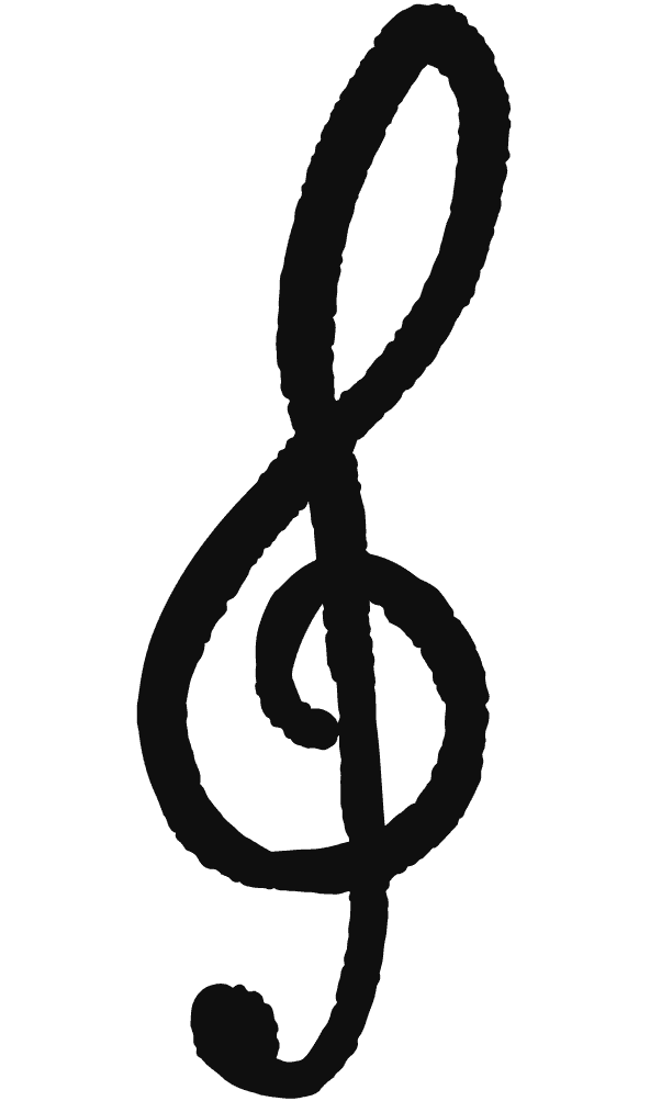 手描きの可愛いト音記号のイラスト
