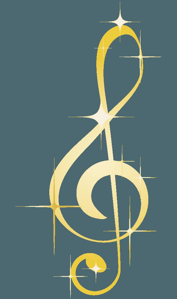 ピカピカゴールドなト音記号のイラスト