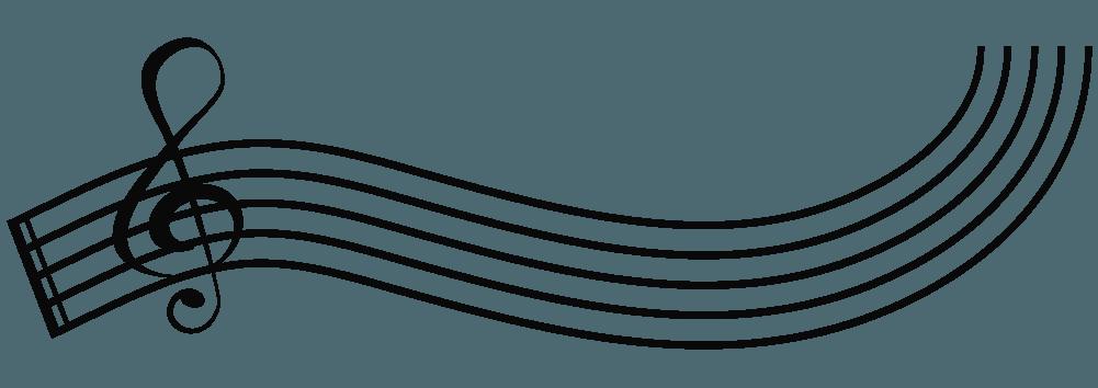 曲がった五線とト音記号のイラスト