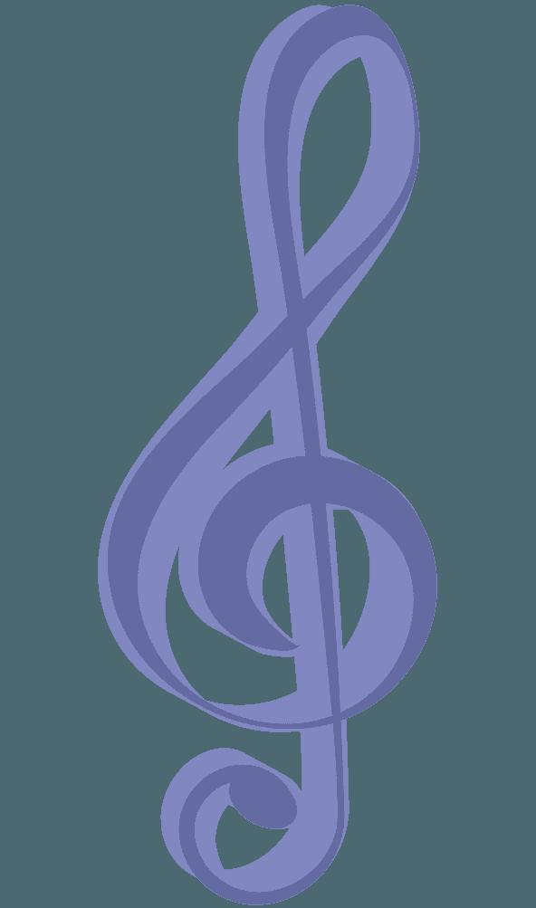 立体的な紫なト音記号のイラスト