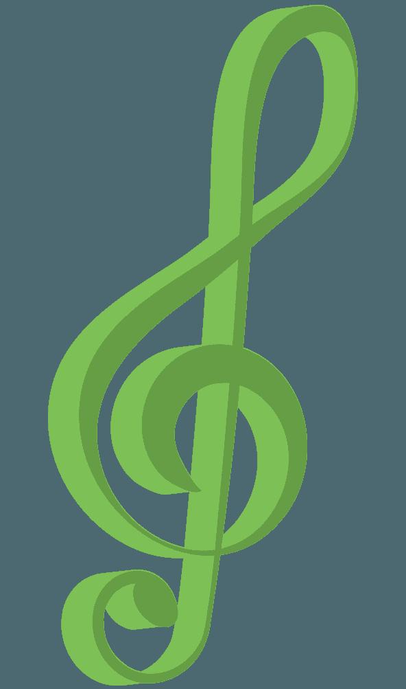 緑色の3Dト音記号のイラスト