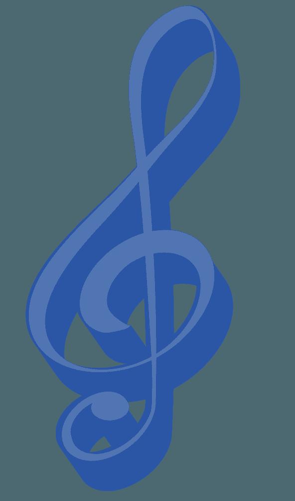 青い立体ト音記号のイラスト