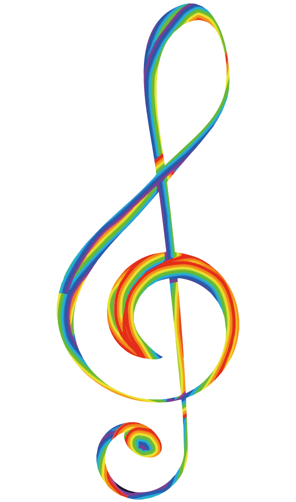 レインボー絵の具のト音記号のイラスト