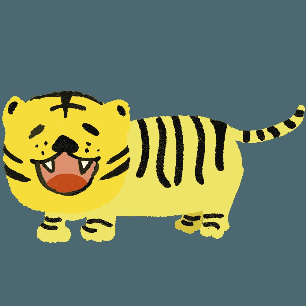ガオーと吠える虎イラスト