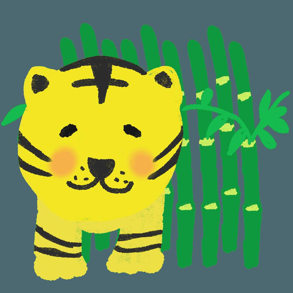 竹林と虎イラスト