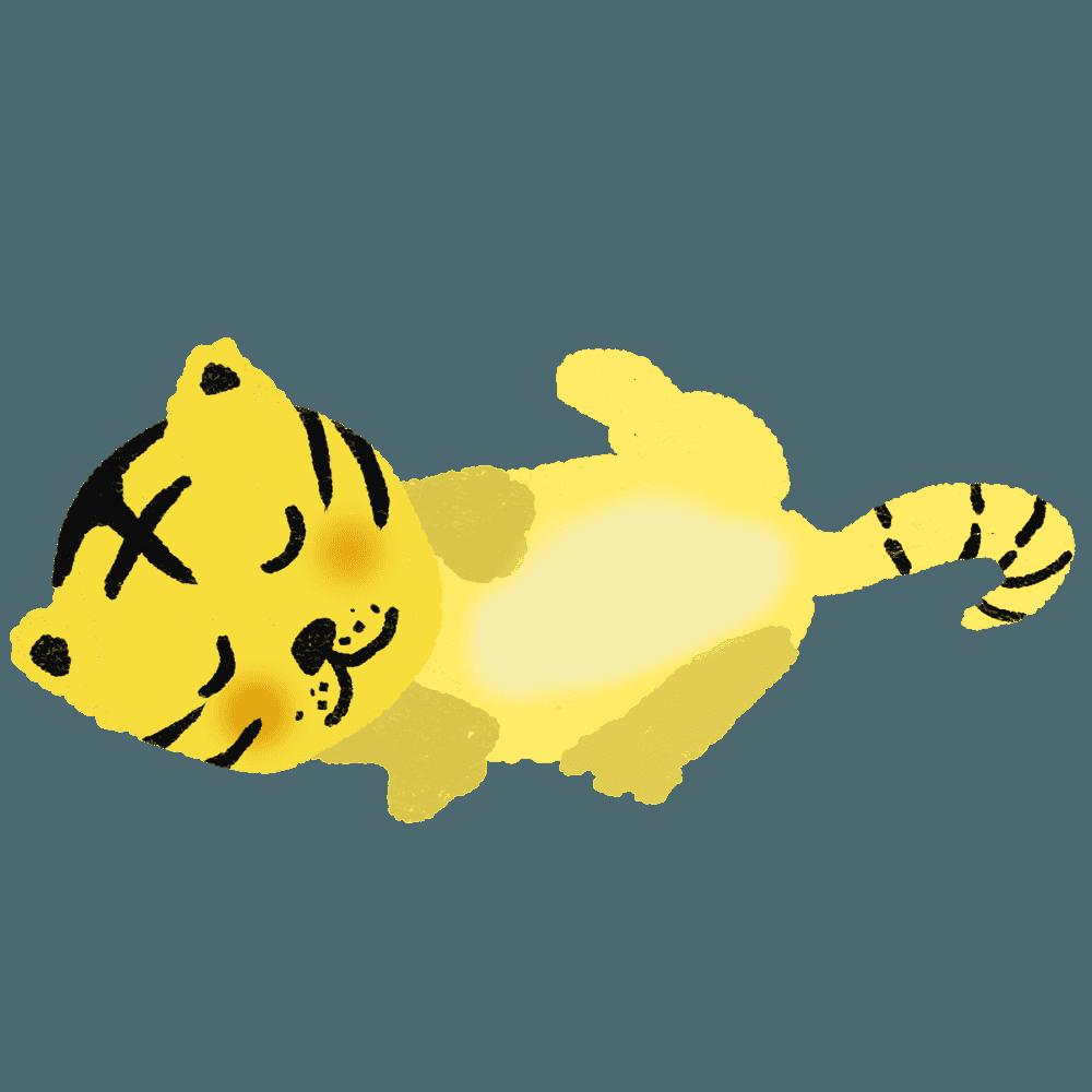 寝相の悪い子供の虎虎イラスト