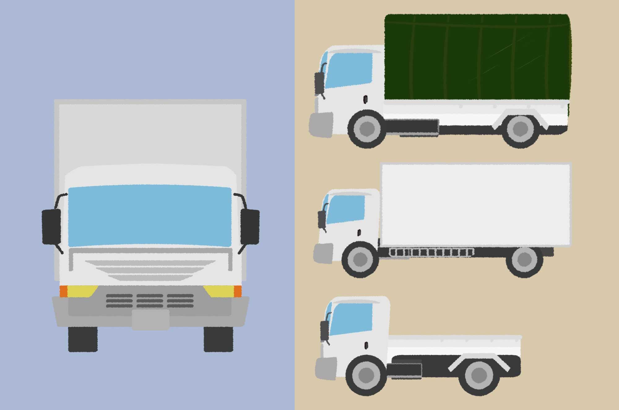 トラックのイラスト - 可愛い・シルエット・正面素材