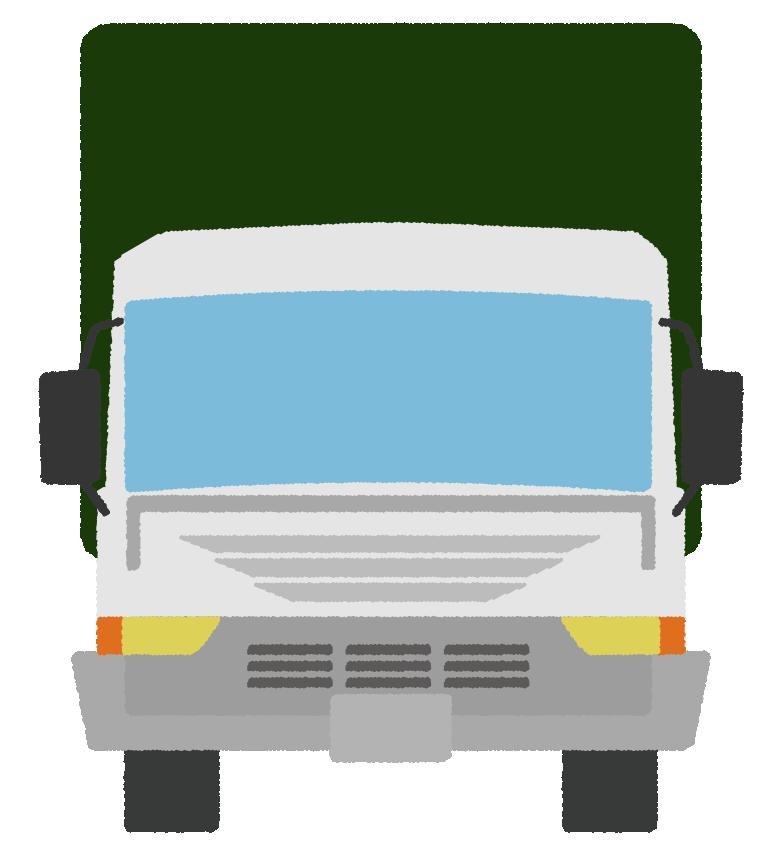 正面から見た幌付きトラックのイラスト