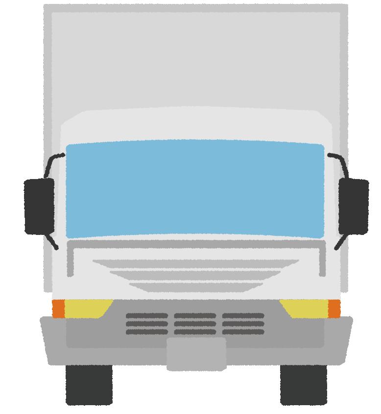 正面から見た可愛いトラックのイラスト
