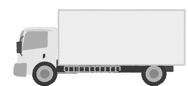 白黒印刷用の可愛いトラックのイラスト