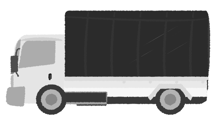 白黒印刷用の幌付きトラックのイラスト