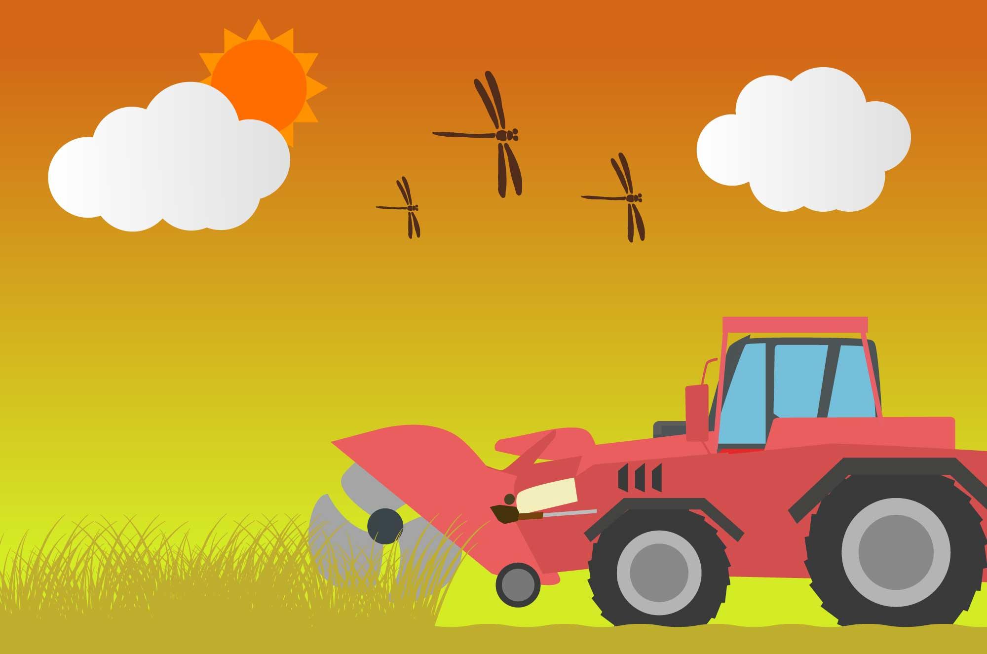 トラクターのイラスト - 畑・田んぼで活躍する車素材