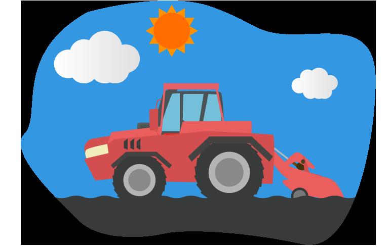 青空の下で土を耕すトラクターのイラスト