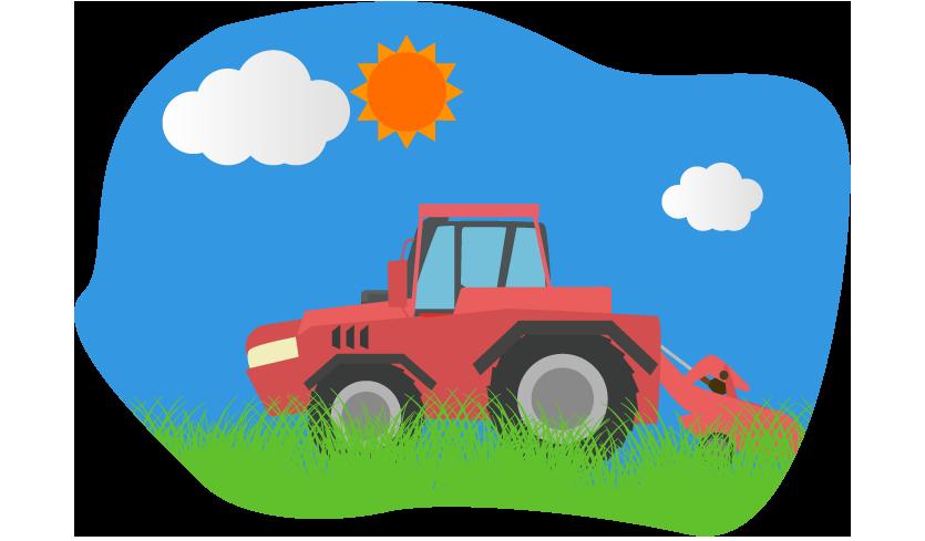 草原とトラクターのイラスト