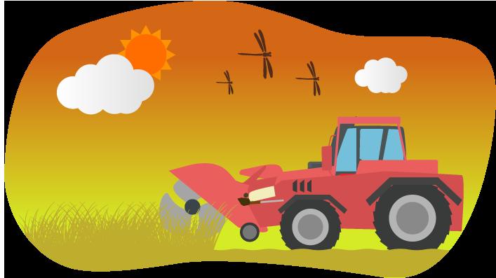 稲を刈るトラクターのイラスト