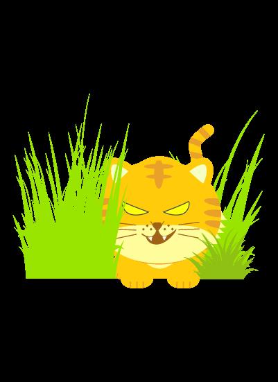 獲物を狙う虎のイラスト