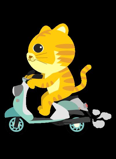 バイクに乗る虎のイラスト