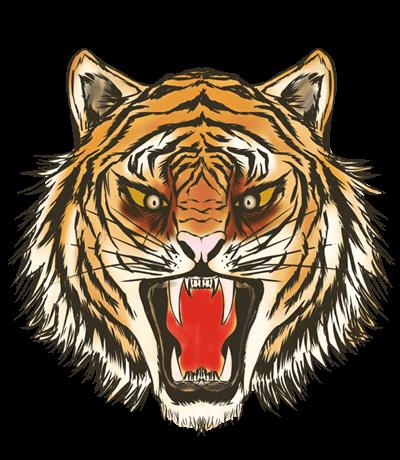リアルな叫ぶ虎の顔のイラスト
