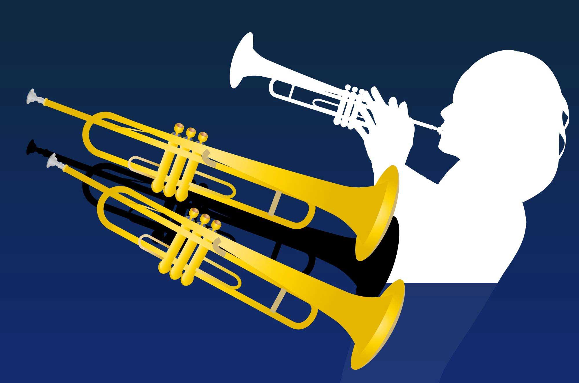 トランペットのムーディーな音楽イラスト無料素材集