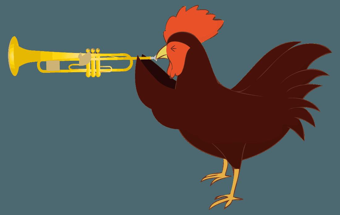 トランペットが吹けなくて苦戦している鶏