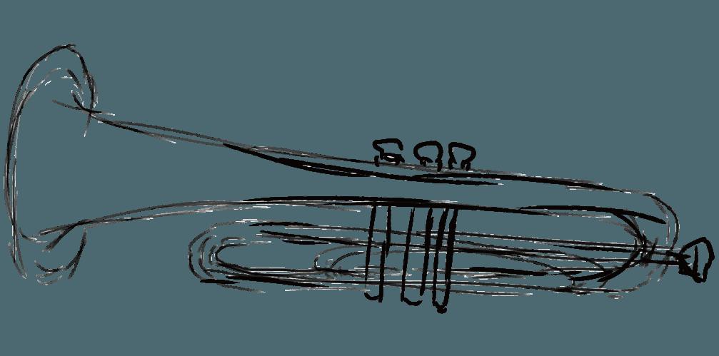 アートな鉛筆で描くトランペットのイラスト