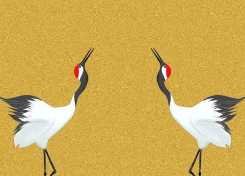 鶴のイラスト(背景つき)