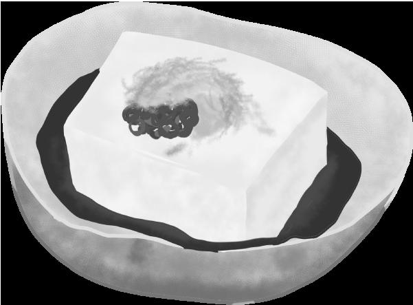 白黒の豆腐のイラスト