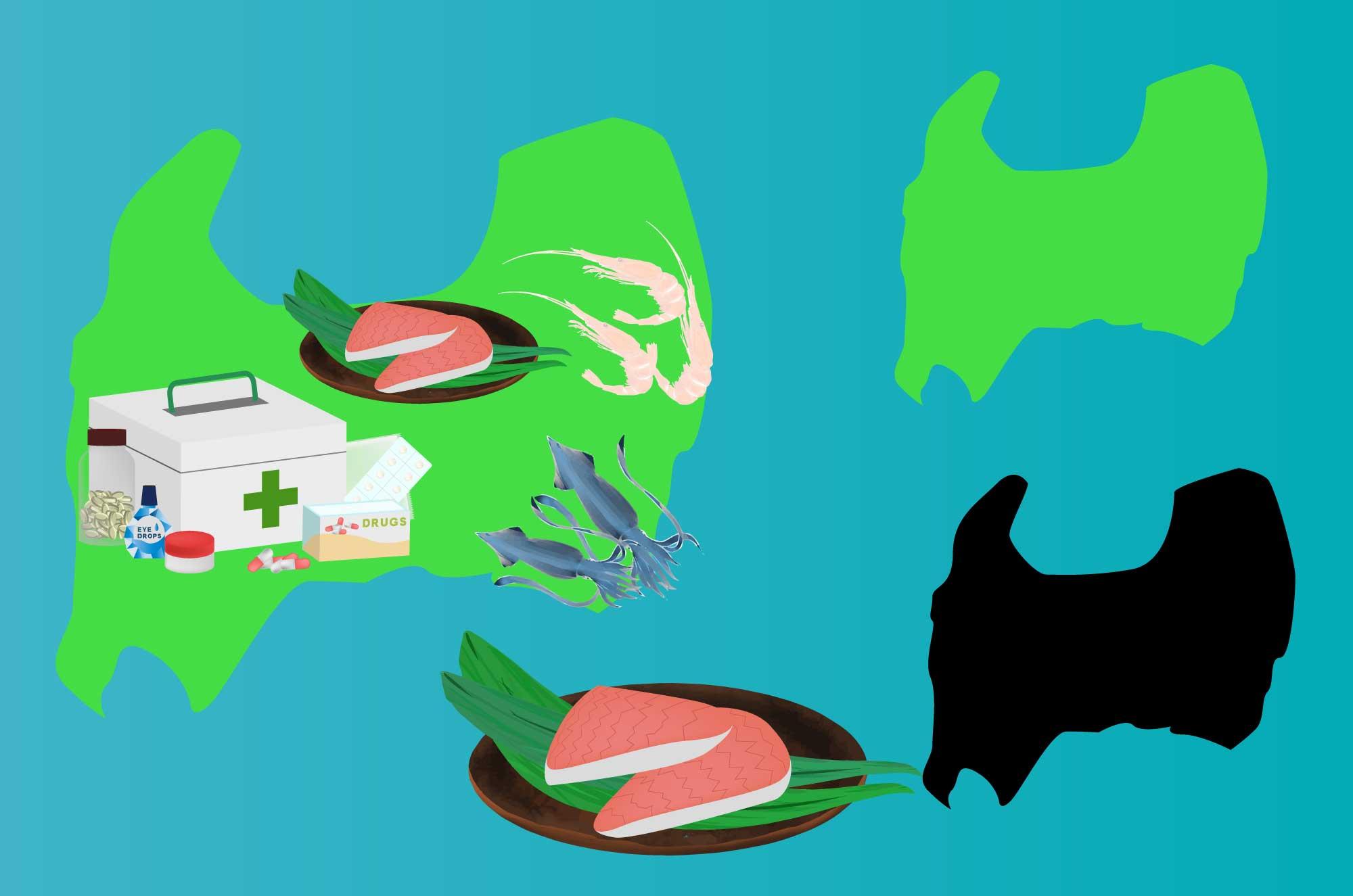 富山の無料イラスト - マス寿司・薬のフリー素材