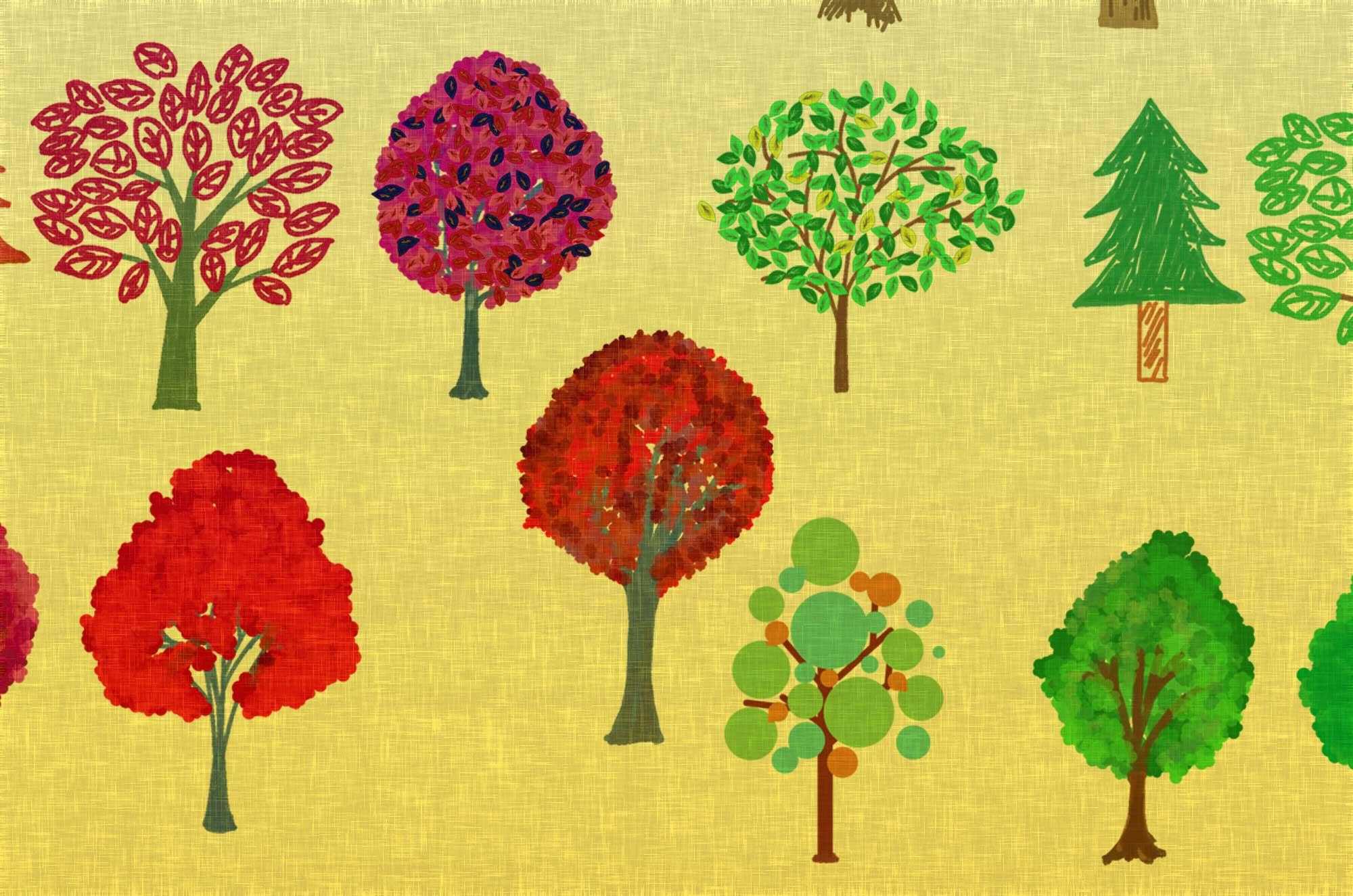 手描きで描いた可愛い木のイラスト無料素材集 - 28個