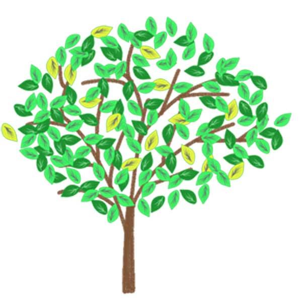 木のイラスト無料素材のクレヨン画風