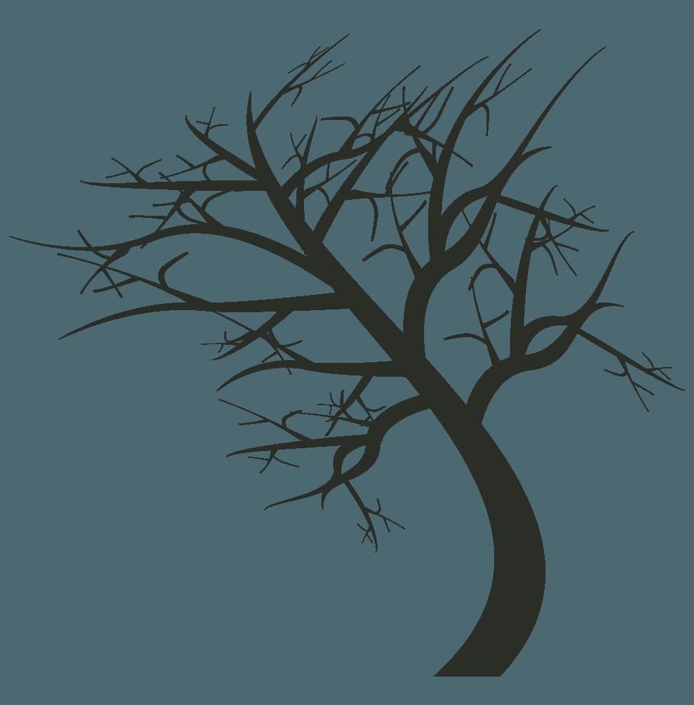 左に曲がる枯れ木イラスト
