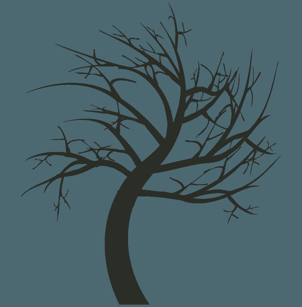 右に曲がる枯れ木イラスト