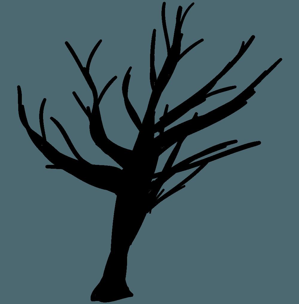 マジックで描いたハロウィンの木イラスト