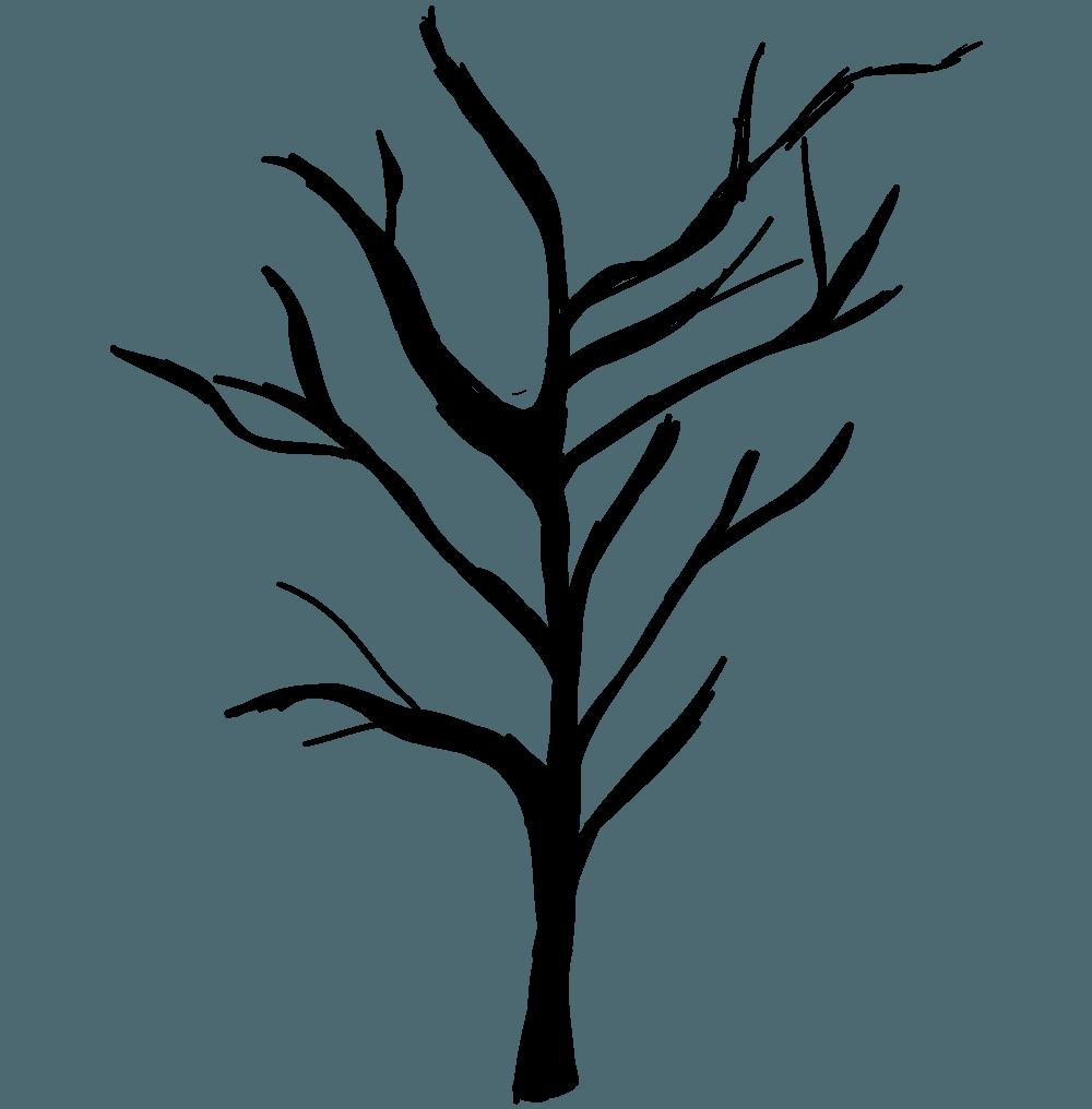 ラフなハロウィンの木イラスト